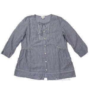 J. Jill Button Pinstripe Boho Blouse Size Small